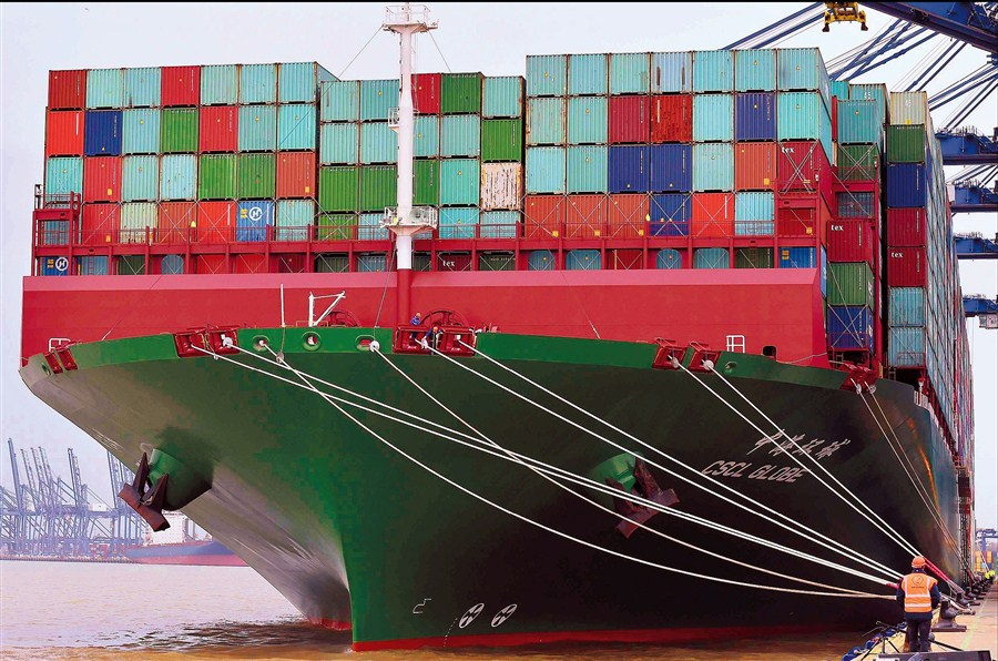 World's biggest container ship docks in UK