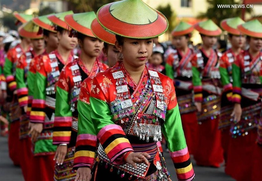 Huayao Dai ethnic people celebrate 'Huajie' festival in SW China