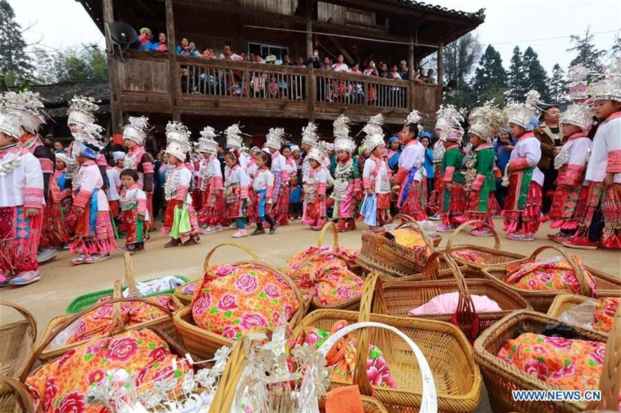 People of Miao ethnic group celebrate Spring Festival in SW China