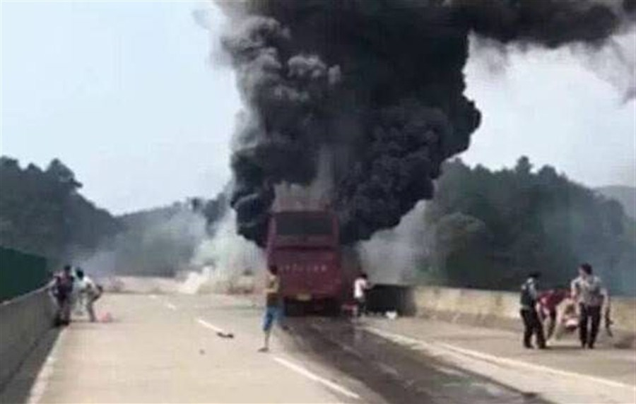 Driver arrested for fatal bus fire in C. China