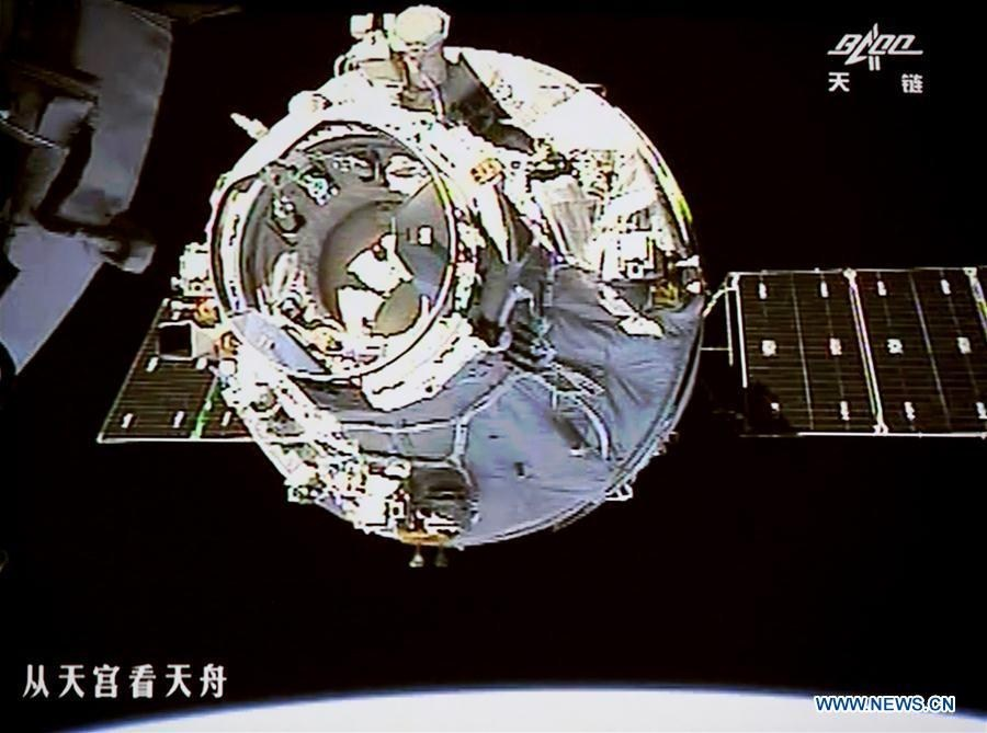 China's cargo spacecraft Tianzhou-1 docks with Tiangong-2 space lab
