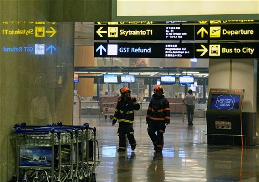 Singapore airport evacuated after fire