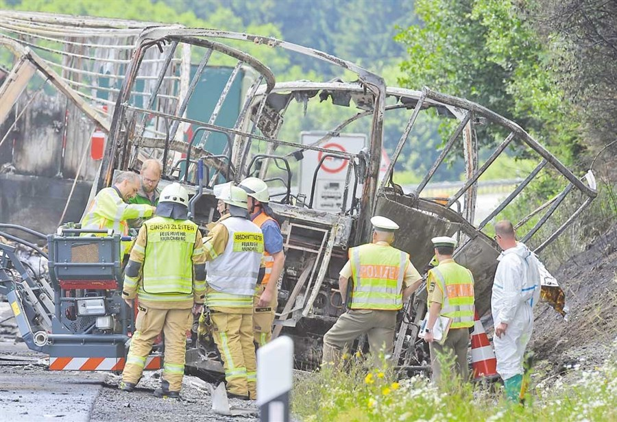 18 confirmed dead, 30 hurt as bus rams truck in fiery Germany crash
