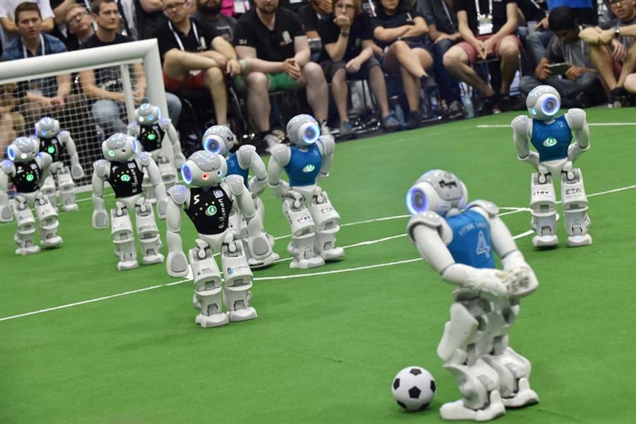 Robots play in RoboCup