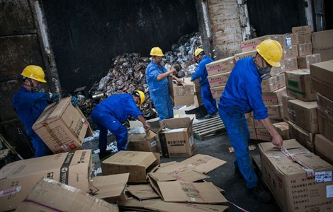 Workers destroy a huge haul of pharmaceuticals yesterday deemed to be either substandard or counterfeit by the Shanghai Food and Drug Administration. Last year, the agency handled more than 400 cases of fake or low-quality drugs with a total retail value of more than 20 million yuan (US$3.3 million).