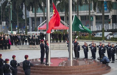 A flag-raising ceremony is held to celebrate the 15th anniversary of Macau's return to the motherland in Macau, south China, December 20, 2014.