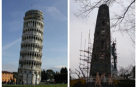 A team of workers puts scaffolding around Huzhu Tower (right) in Shanghai's Songjiang District yesterday. The seven-story tower lists 7.1 degrees, which is far more than the 4-degree tilt of the Leaning Tower of Pisa in Italy.