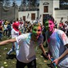 People smash colored powder to celebrate annual color festival in Giza