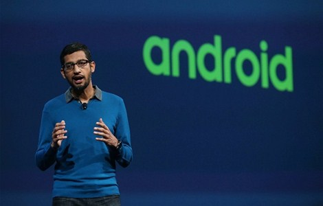 Google senior vice president of product Sundar Pichai delivers the keynote address during the 2015 Google I/O conference on May 28, 2015 in San Francisco, California. The annual Google I/O conference runs through May 29.