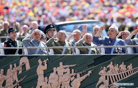 Veterans in a phalanx attend a parade in Beijing, capital of China, Sept. 3, 2015.