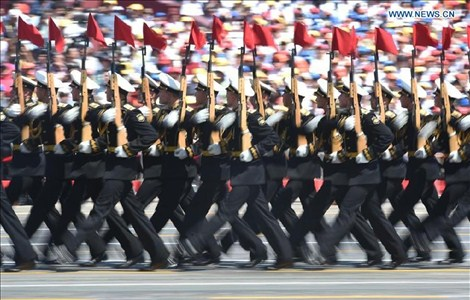 The Russian phalanx attends a parade in Beijing, capital of China, Sept. 3, 2015.