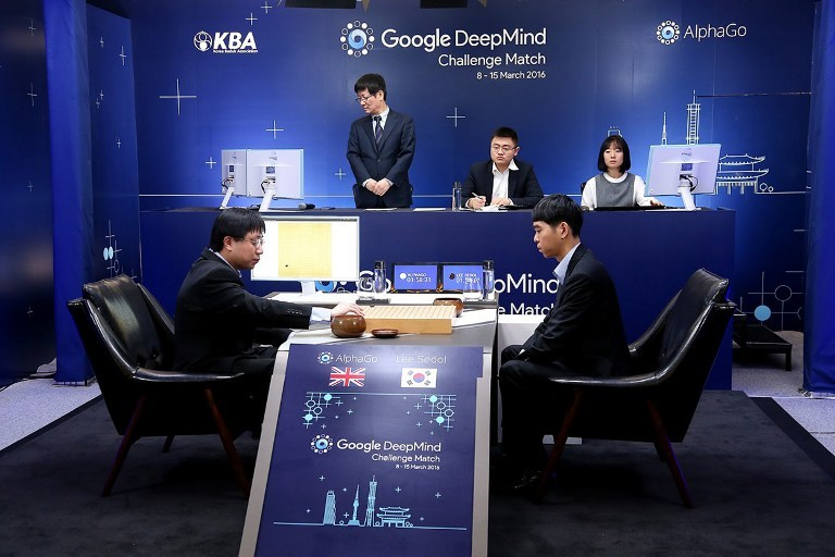 Lee Se-Dol (R), a legendary South Korean player of Go - a board game widely played for centuries in East Asia - competes during the Google DeepMind Challenge Match in Seoul on March 9, 2016. A 3,000-year-old Chinese board game was the focus of a very 21st century showdown as South Korean Go grandmaster Lee Se-Dol kicked off his highly anticipated clash with the Google-developed supercomputer, AlphaGo.