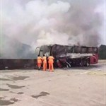 Casualties reported after bus catches fire in central China