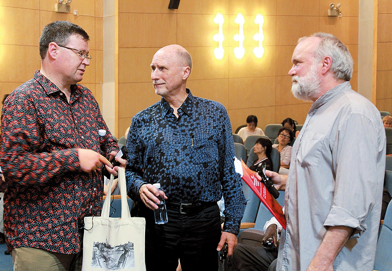 (From left) New Zealand poet and lecturer Jack Ross, American fiction writer Robert Olen Butler, and Canadian writer Mark A. Jarman at the conference