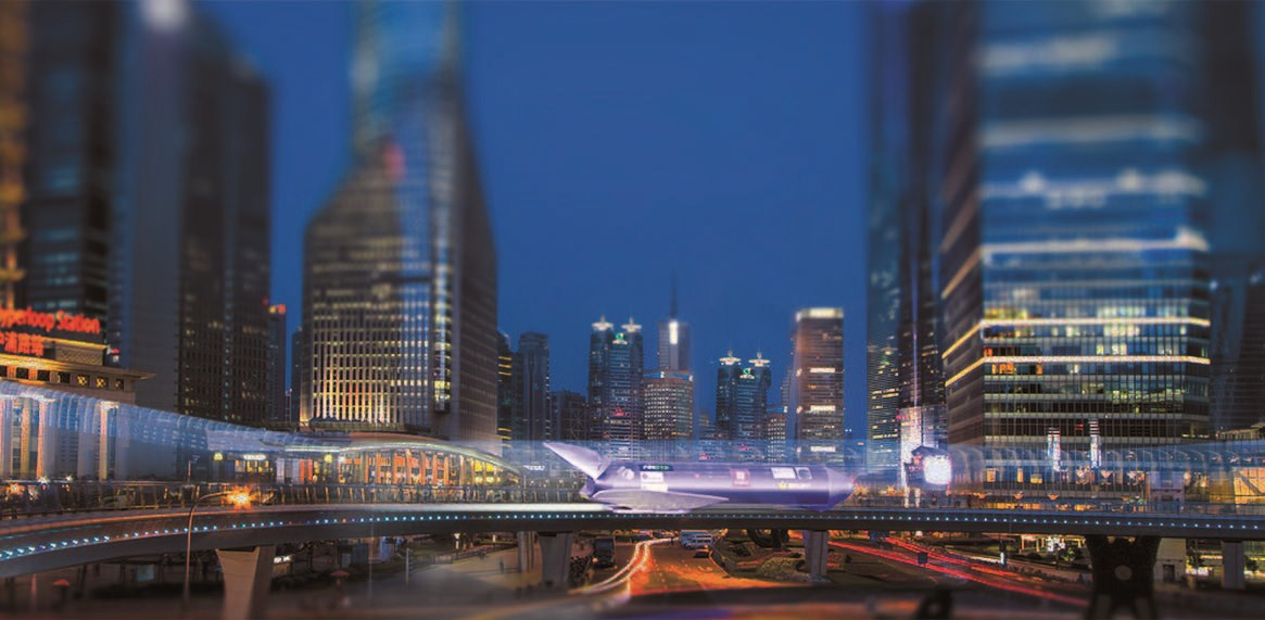An artist's rendition of a Hyperloop station in Lujiazui in Shanghai's Pudong New Area.