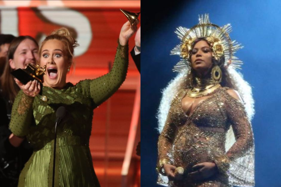 Adele used her acceptance speeches for Record and Album of the Year to pay tribute to Beyonce