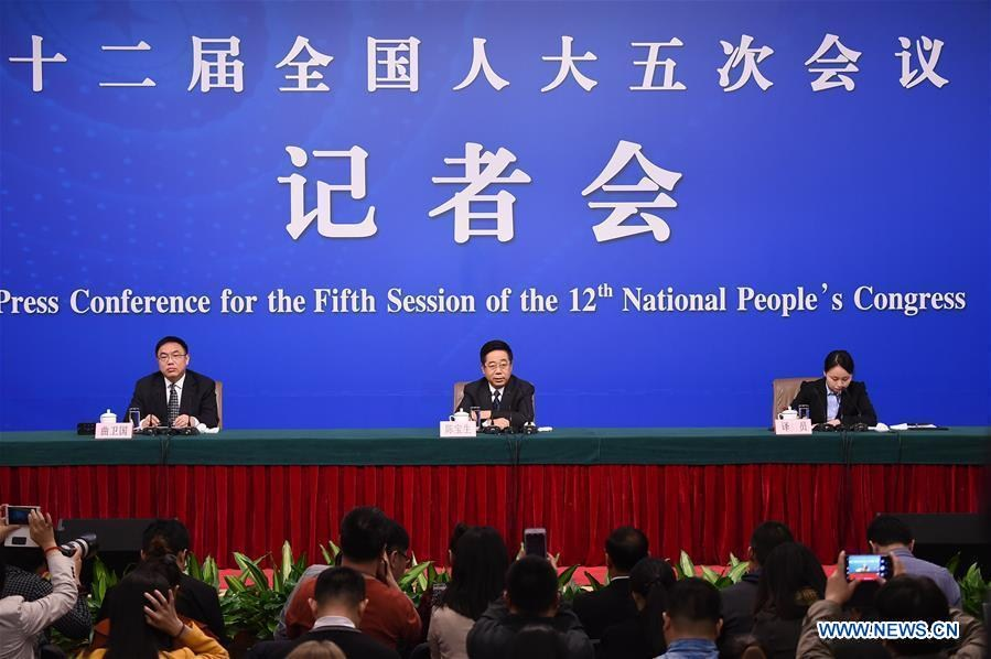 Chinese Minister of Education Chen Baosheng answers questions at a press conference on education reform and development for the fifth session of the 12th National People\'s Congress in Beijing, capital of China, March 12, 2017.