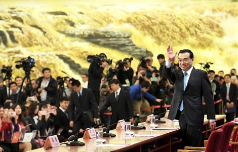 CHINESE Premier Li Keqiang on Wednesday meets the press at the Great Hall of the People after the conclusion of the annual national legislative session. He answered a couple of questions raised by journalists