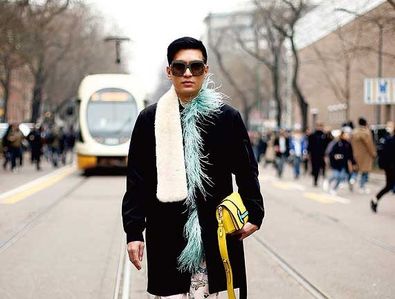 Fashion blogger Bryan Grey Yambao, also known as Bryanboy, poses during Milan's Fashion Week. — Reuters