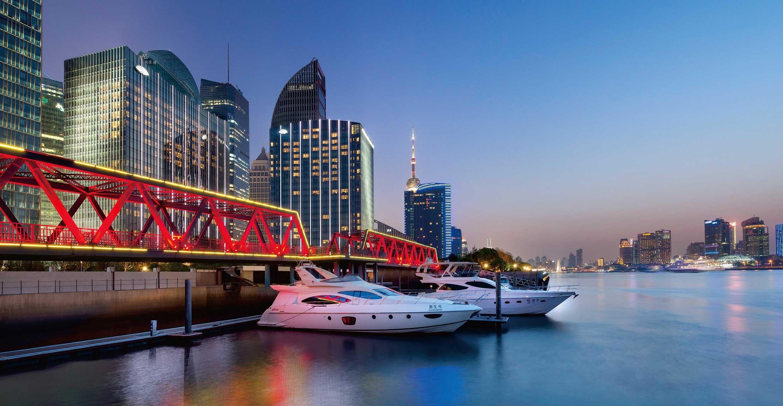 The exterior marina dusk of Mandarin Oriental Pudong, Shanghai