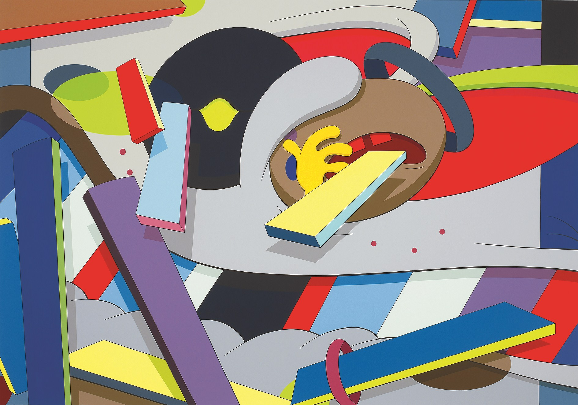 "One of KAWS work, ""WHERE THE END STARTS, 2011,"" acrylic on canvas — Collection of the Modern Art Museum of Fort Worth, Gift of the Director's Council and Museum purchase, 2012"
