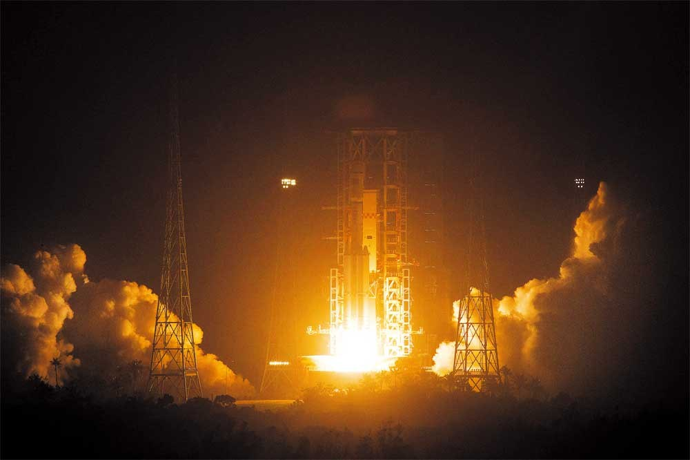 Tianzhou-1, China's first unmanned cargo spacecraft, blasts off from the Wenchang Space Launch Center in south China's Hainan Province last night. It will carry out several docking tests with the Tiangong-2 space lab. — Xinhua