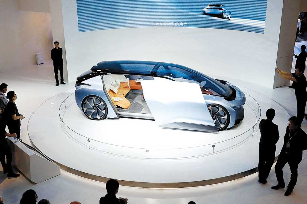 The Nio EVE concept car is displayed at the Auto Shanghai 2017 show yesterday. — Reuters