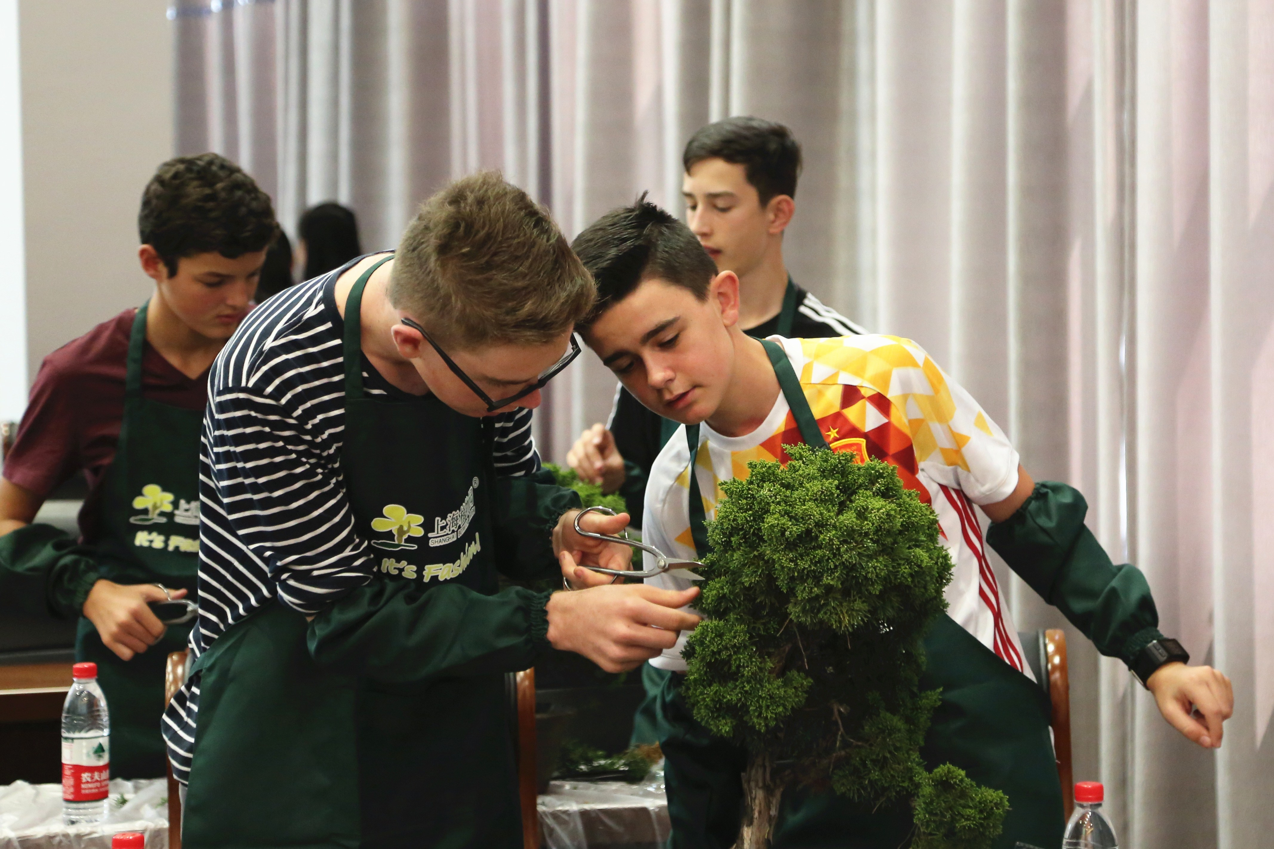 Twenty students from St Peter\'s School in New Zealand learn making bonsai at Shanghai Botanical Garden in Xuhui District. As part of a Chinese cultural experience program, they also learn tai chi at the garden.  -- Ti Gong