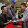 Newly published SF novels autographed at book launch