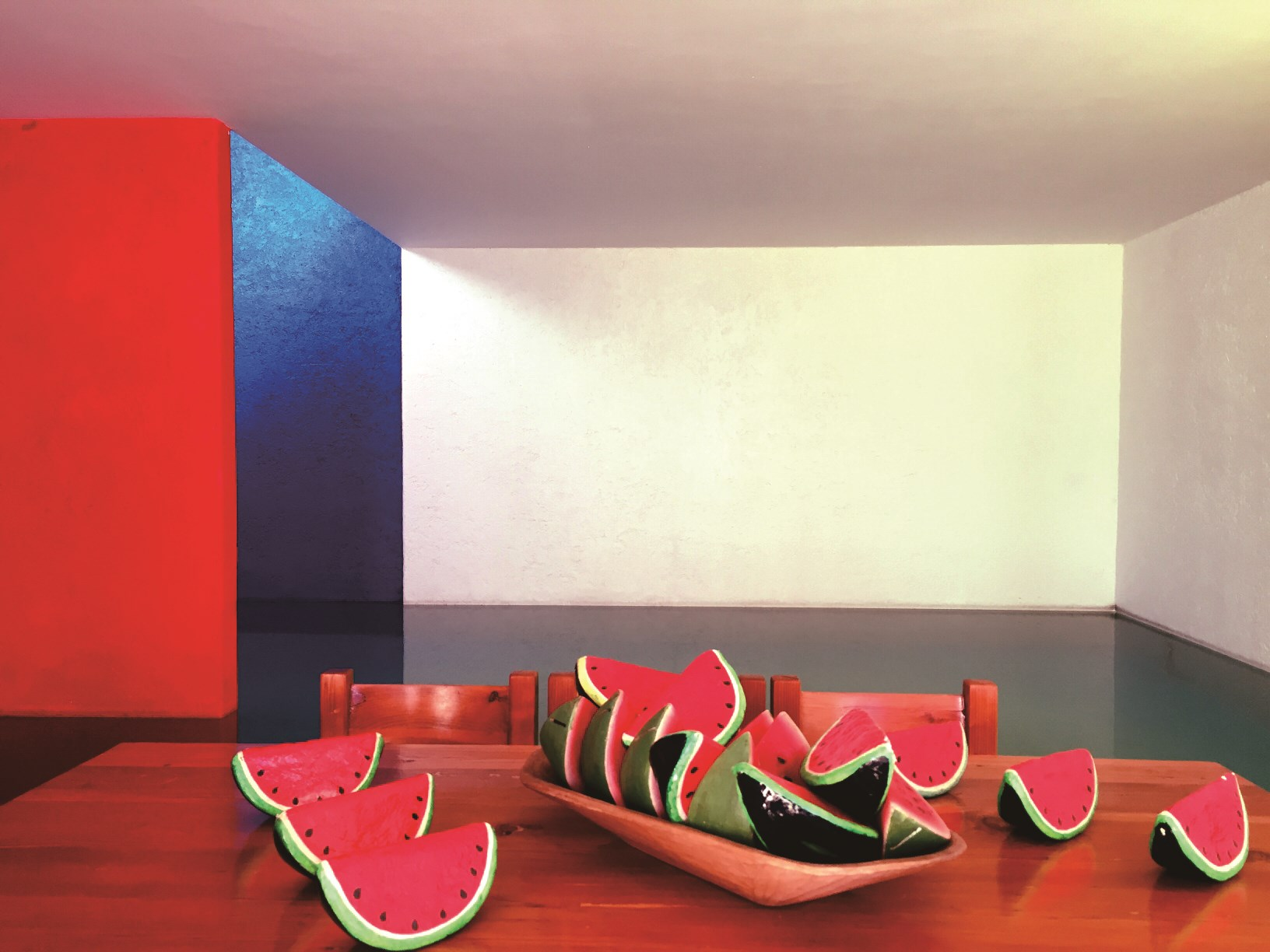 The pool area showcases Barragan's frequent use of the cube in his space design. — Patsy Yang