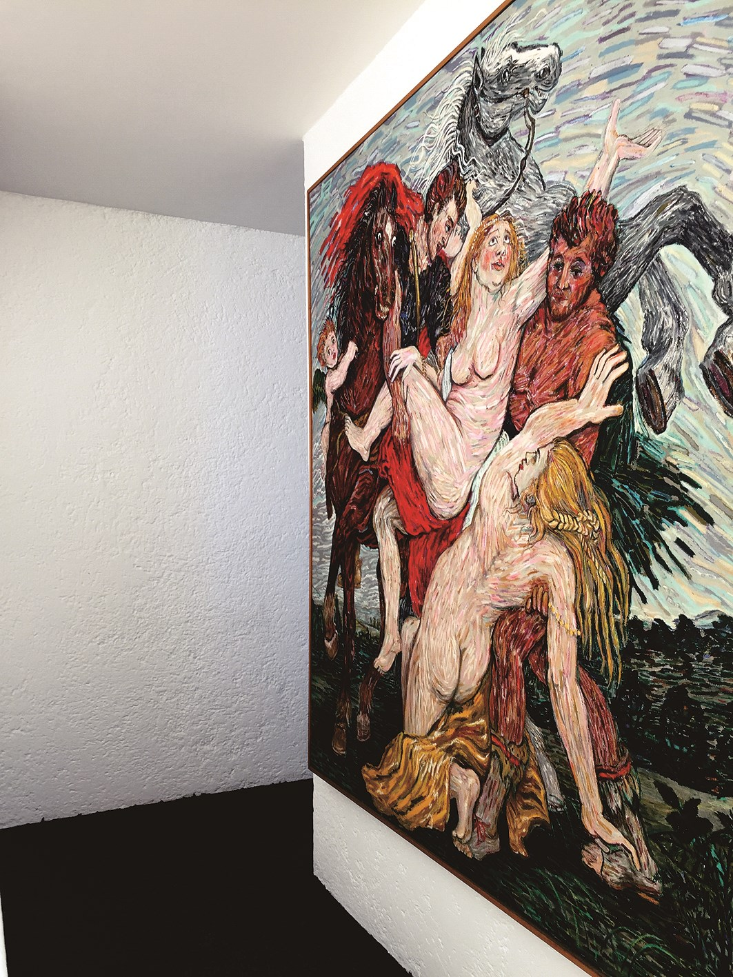 This bold painting by Mexican artist is on display at the second level of the house.