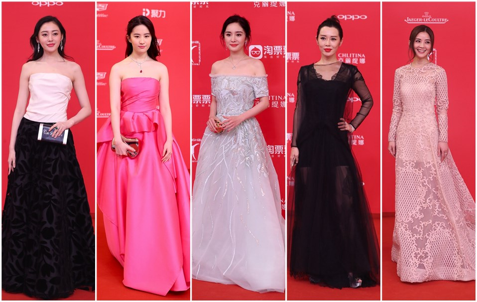 From left: Actress Zhang Tian\'ai, Liu Yifei, Yang Mi, Yu Nan and Charlene Choi at the red carpet of the 20th Shanghai International Film Festival tonight. -- Dong Jun