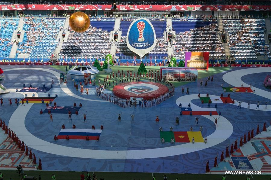 Photo taken on June 17, 2017 shows the opening ceremony of the FIFA Confederations Cup 2017 in Saint Petersburg, Russia.