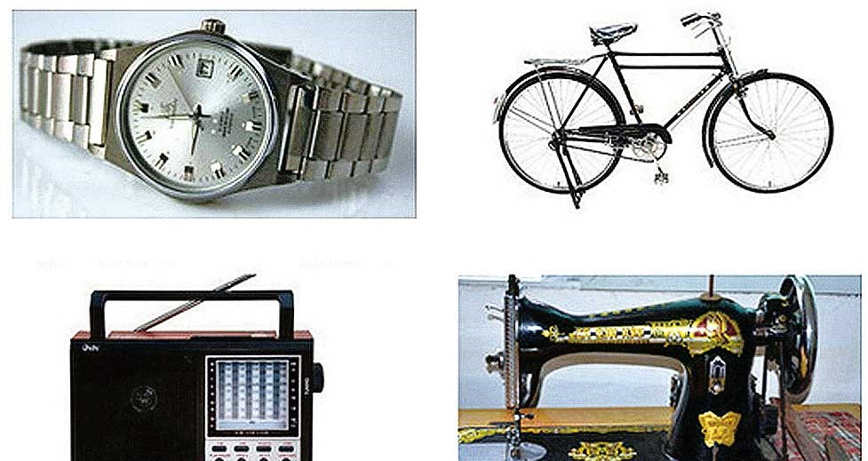 """In the 1970s, a Chinese man looking to marry had to have si da yang, or """"four things that go round"""" — a Forever bicycle, a Red Light radio, a Butterfly sewing machine and a Shanghai watch."""
