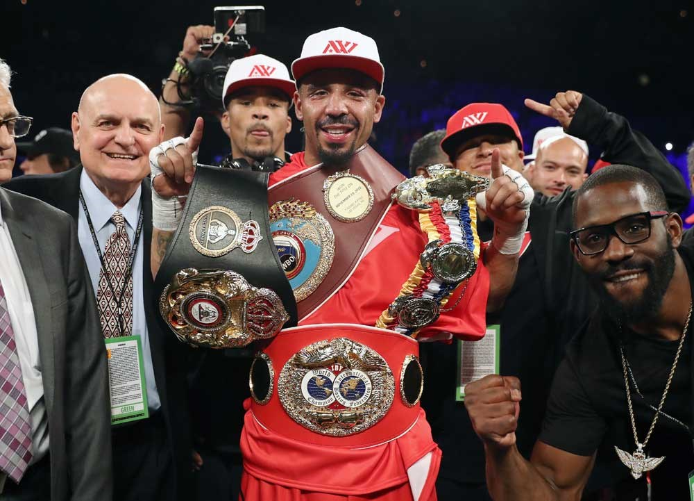 Andre Ward celebrates after winning his light heavyweight bout against Sergey Kovalev in Las Vegas on Saturday. — AFP