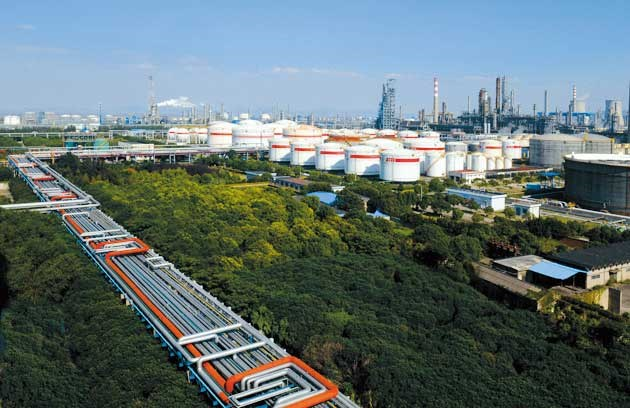 Ningbo Zhenhai Chemical Industrial Park abuts the nation's largest liquid chemicals port.