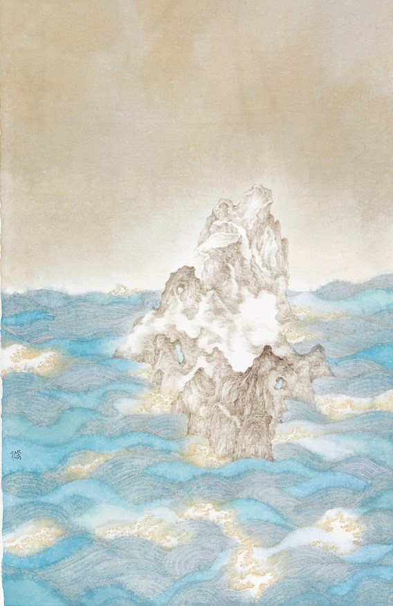 """Tou Yue Yan,"" or Rock Rising from Moonlight, by Shao Zejiong"