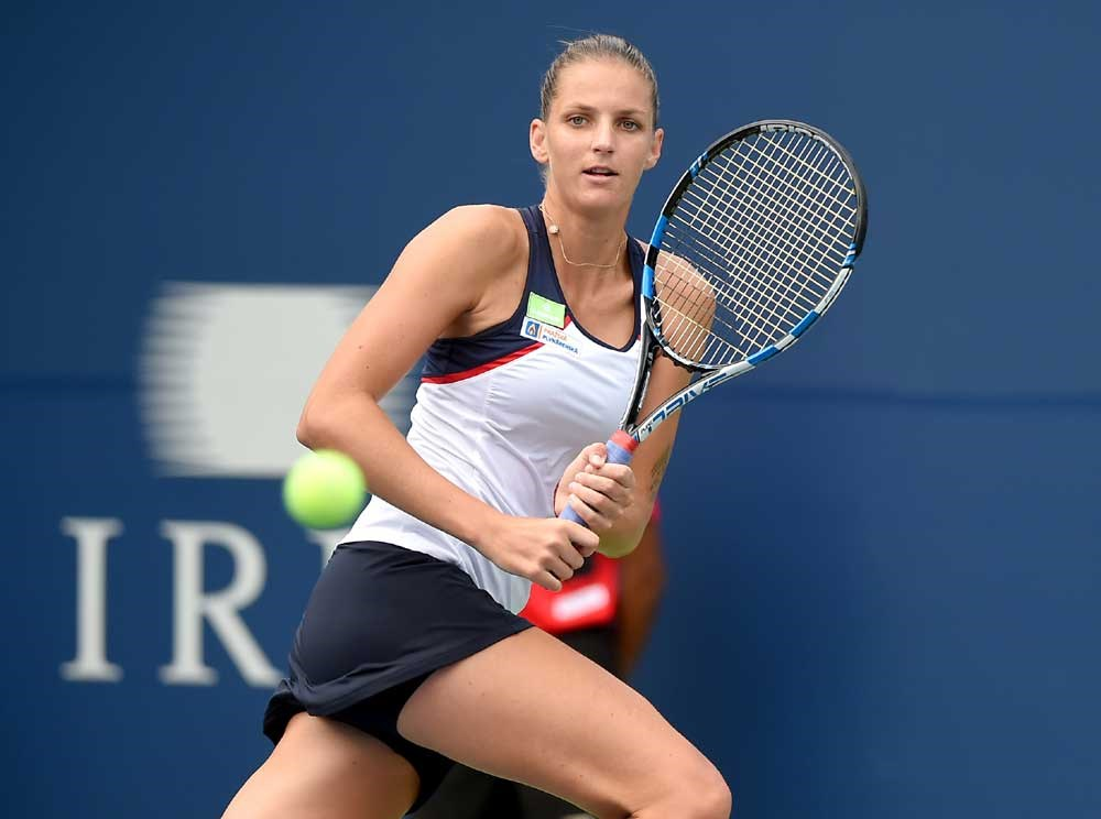 Karolina Pliskova plays a shot against Anastasia Pavlyuchenkova of Russia during their Rogers Cup second-round match at Aviva Centre in Toronto, Ontario, in Canada on Wednesday. The Czech world No. 1 won 6-3, 6-3. — IC