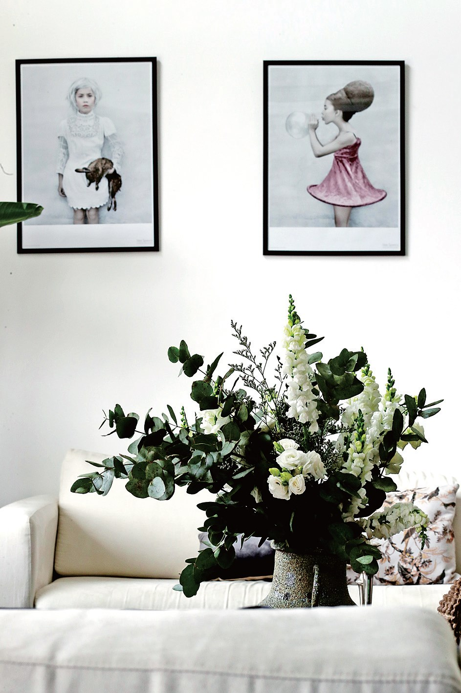 Fresh flowers are a necessity and spread through every room.