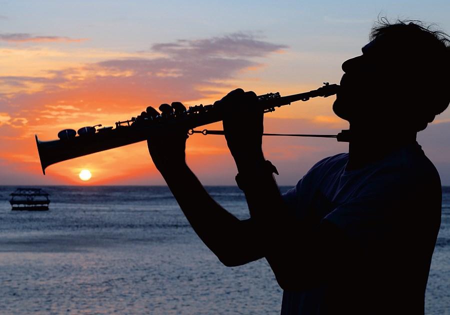 Swedish musician Anders Paulsson of Coral Guardians plays his soprano saxophone on Danjugan Island.