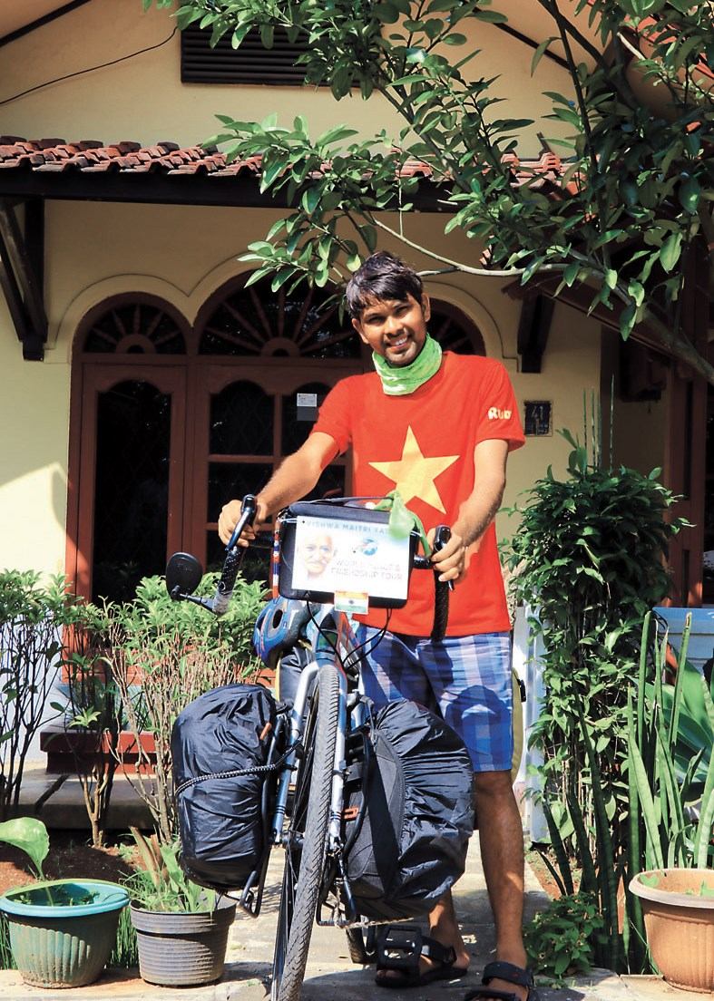 Dnyaneshwar Yeotkar poses before leaving Vietnam.