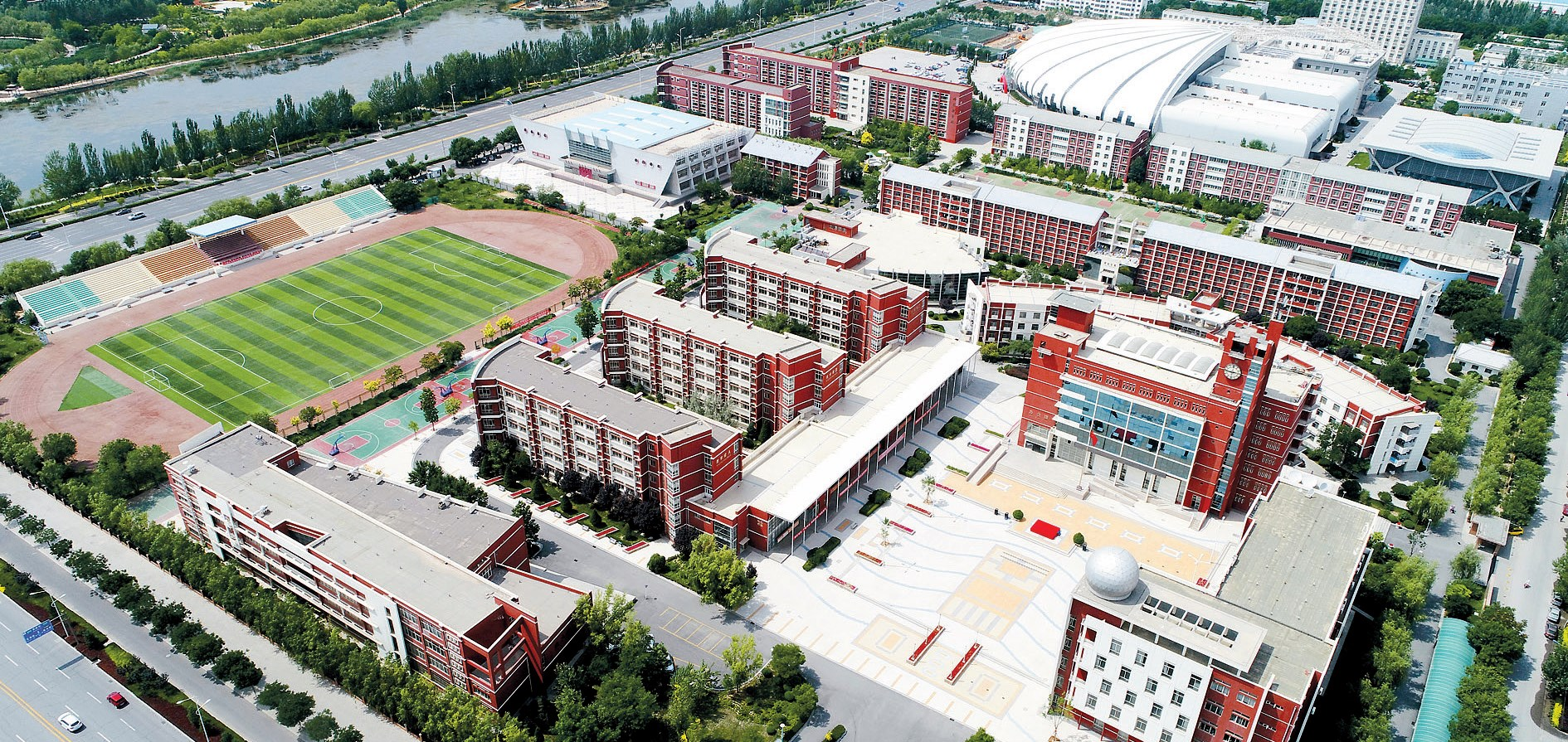 A bird's-eye-view of Liupanshan High School. It is one of two high schools in Yinchuan for poor rural residents. — Xinhuatone