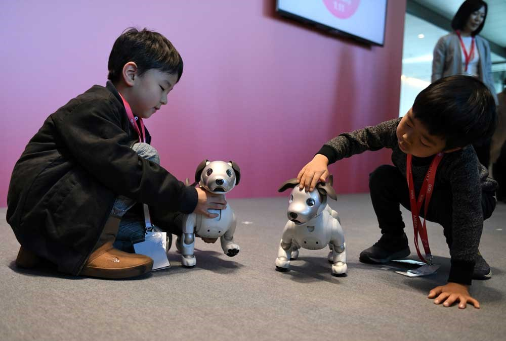 """Young boys plays with a pre-ordered Sony robot dog """"Aibo"""" after its birthday ceremony in Tokyo yesterday. Sony marked the year of the dog by bringing back its popular Aibo robot companion canine, with the new model packed with artificial intelligence and Internet capability. — AFP"""