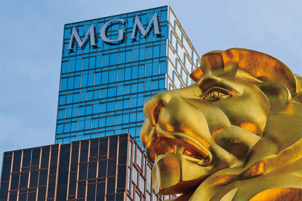 A shot of the exterior of MGM's US$3.4 billion Cotai casino resort in Macau yesterday. — AFP